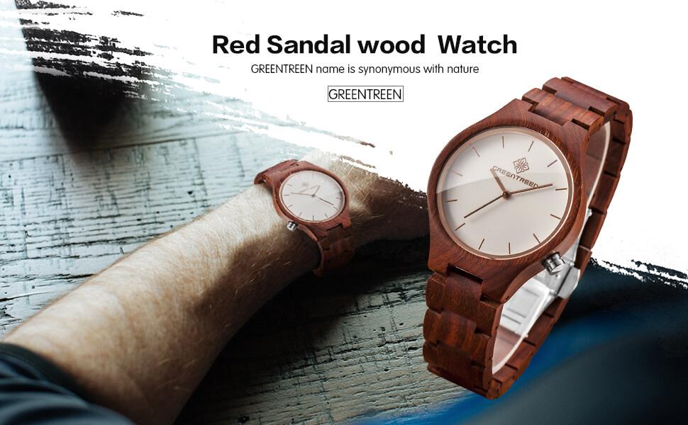 GreenTreen Herren Handgefertigte Holz Armbanduhren Mit Rot