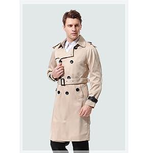 innovative design 8b35e da1d5 AOWOFS Herren Trenchcoat Lang Slim Fit Zweireihiger Mantel im Militärischen  Stil Trench Coat mit Gürtel Frühling