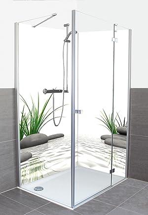 wunschma duschr ckwand fliesenersatz mit motiv aus aluminium verbund f r eckdusche auf ma. Black Bedroom Furniture Sets. Home Design Ideas