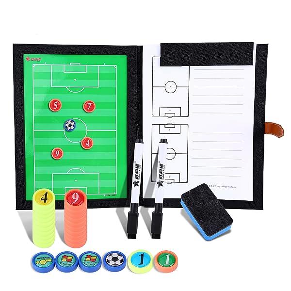 Bizoerade Professional Fussball Taktikmappe Taktiktafel Fussball Coach Board Mit Stifte Radiergummi Magneten Aufbewahrungstasche