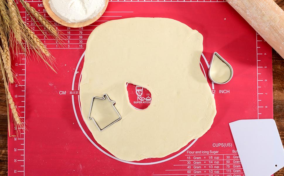 50/×40cm f/ür Silikon-Backmatten Silikonmatte mit Abmessungen Antihaftbeschichtete Backunterlage,Backmatte Platzmatte f/ür Teig-Kneten und f/ür Teig//Fondant//Tortekruste, Rot