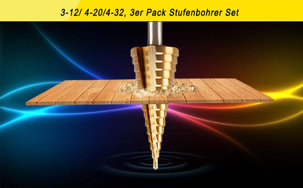 Stufenbohrer 4-14mm Titanbeschichtet HSS Kegelbohrer Schälbohrer Senker