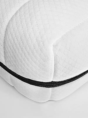 eckansicht kaltschaummatratze weißer bezug schwarzer reißverschluss