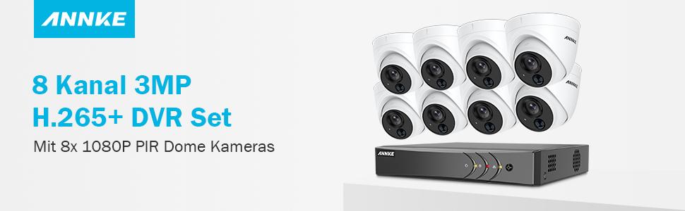 Annke Dome Video Überwachungskamera System 8ch 3mp H 265 Dvr Mit 8 Pir 1080p Kamera Ip67 Set Cctv System 2tb Festplatte 30m Ir Nachtsicht Überwachungssystem Baumarkt