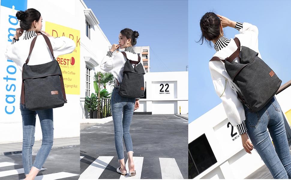 Travistar Canvas Tasche Damen Rucksack Handtasche