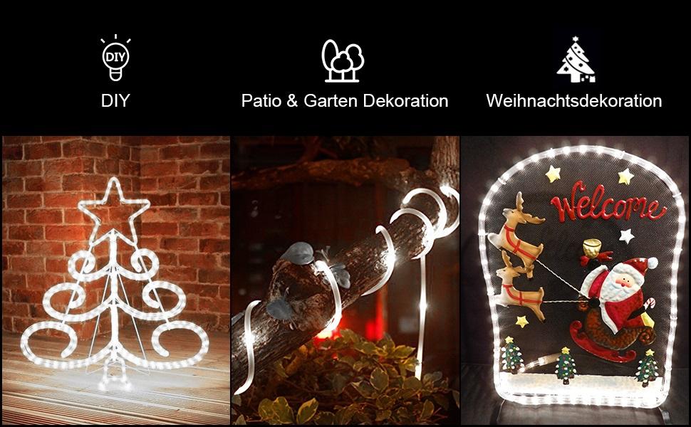 IP65 Wasserdicht Kaltwei/ß Dekolicht f/ür Au/ßen Innen Weihnachten DIY Deko Hochzeit weihnachtsdeko 200 LED USB Lichtschlauch Ustellar 20m LED Lichterschlauch