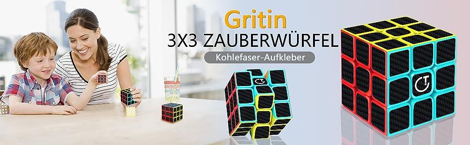 Rubiks Cube,Gritin Neue Version 3x3x3 Zauberwürfel magische Rubiks Würfel Gesc