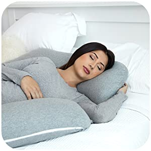 U Shaped Full Body Pillow U-F/örmiges Ganzk/örperkissen Pregnancy Pillow with Jersey Cover Pharmedoc Schwangerschaftskissen Mit Jersey-Bezug