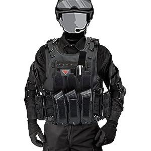 Lixada Arm/ée Tactique Vest ext/érieure CS Champ Swat air de Jeu de Guerre Cosplay de Counter Strike Jeu Chasse Camping Randonn/ée Gilet