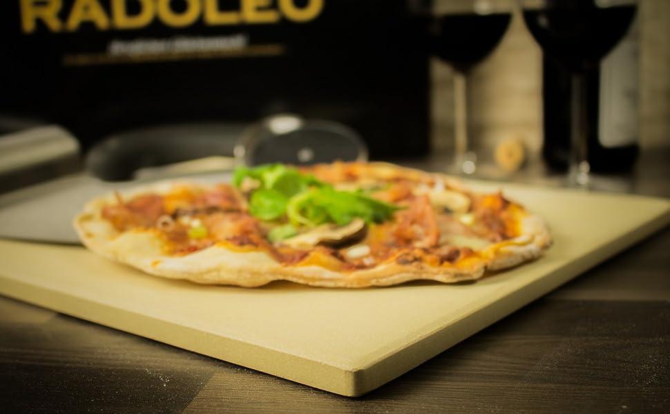 Pizzastein Aldi Anleitung Gasgrill : Radoleo® pizzastein l aus cordierit premium set geeignet für