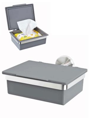 bremermann Bad-Serie Piazza – Feuchttücherbox mit Edelstahlhalterung (Grau)
