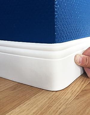 Flexible Sockelleiste 4,8 Meter 90x12 mm biegbare Fu/ßbodenleiste Berliner Profil Hamburger Farbe wei/ß
