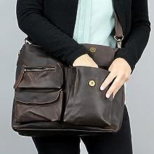 Leconi - Bolso de mujer de piel, color marrón oscuro