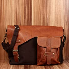 5a13c99fea2cf LECONI Messenger Bag DIN A4 Leder Canvas Damen   Herren Schultasche ...