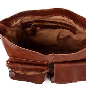 Leconi - Bolso de mujer de piel marrón con compartimento interior