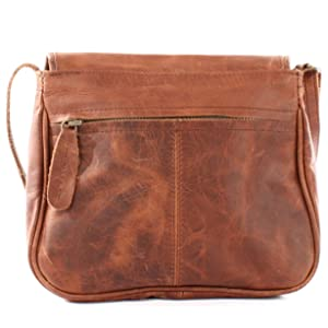LECONI LE3047-M - Bolso bandolera de piel para mujer, color marrón