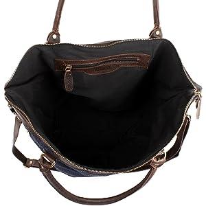 großer Shopper Schultertasche für Frauen kleiner Weekender für Damen Beuteltasche DIN A4 Vintage Jeans Denim & Leder 41x41x20cm dunkelblau LE2005-D Leconi
