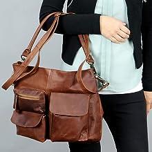 Leconi - Bolso de mujer de piel marrón