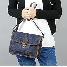 LECONI kleine Schultertasche Damen Umhängetasche Denim Leder hellblau LE3041-D