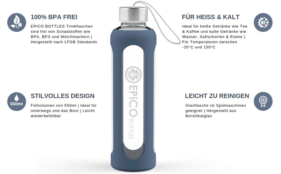 1 Liter Borosilikatglas Wasserflasche mit Silikonh/ülle Be-Active Glasflasche Trinkflasche aus Glas BPA-frei 1000ml