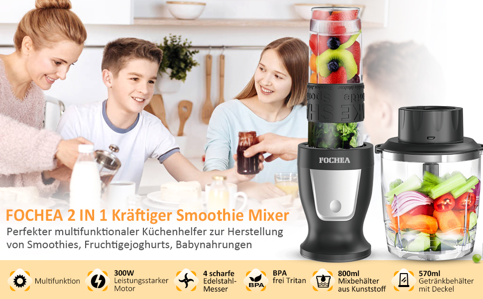Smoothie Maker to go vert avec 2 bouteilles stand Mixeur pour smoothies Blender