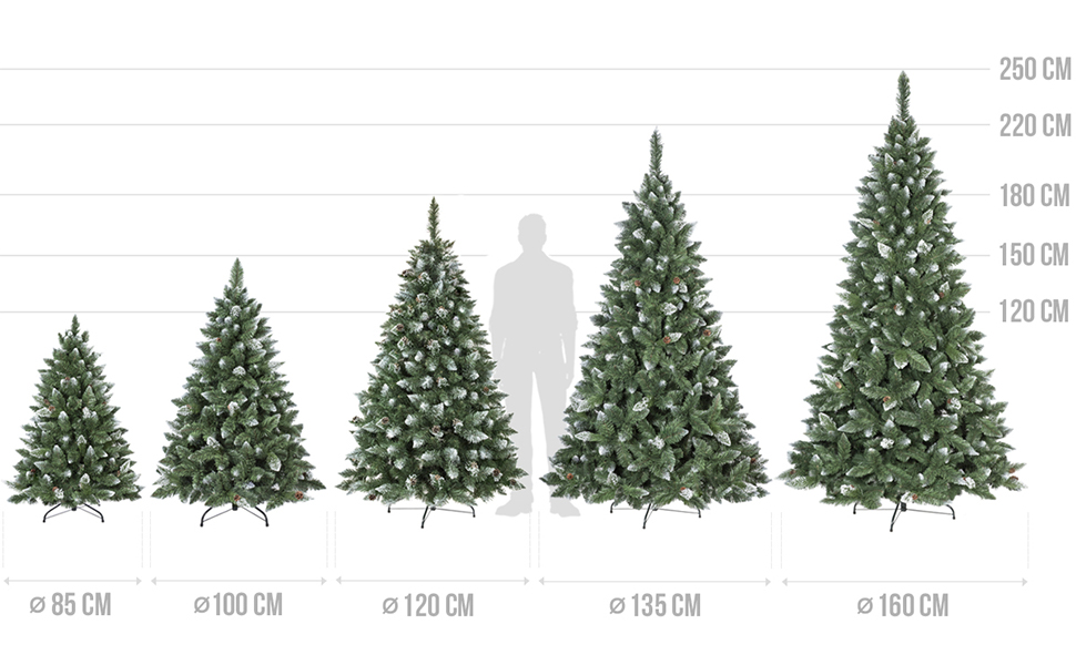Künstlicher Weihnachtsbaum Kiefer Natur-Weiß beschneit von FairyTrees - alle Höhen