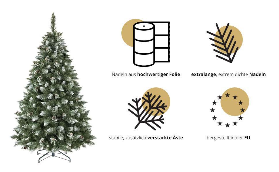 Künstlicher Weihnachtsbaum Kiefer Natur-Weiß beschneit von FairyTrees