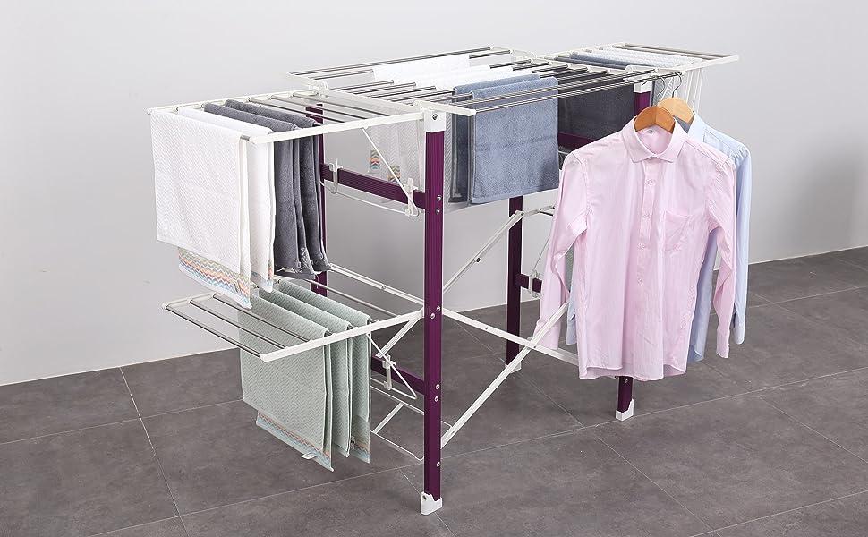 XL Wäscheständer Länge 174cm Standtrockner mit Rollen Wäschetrockner mit Flügeln
