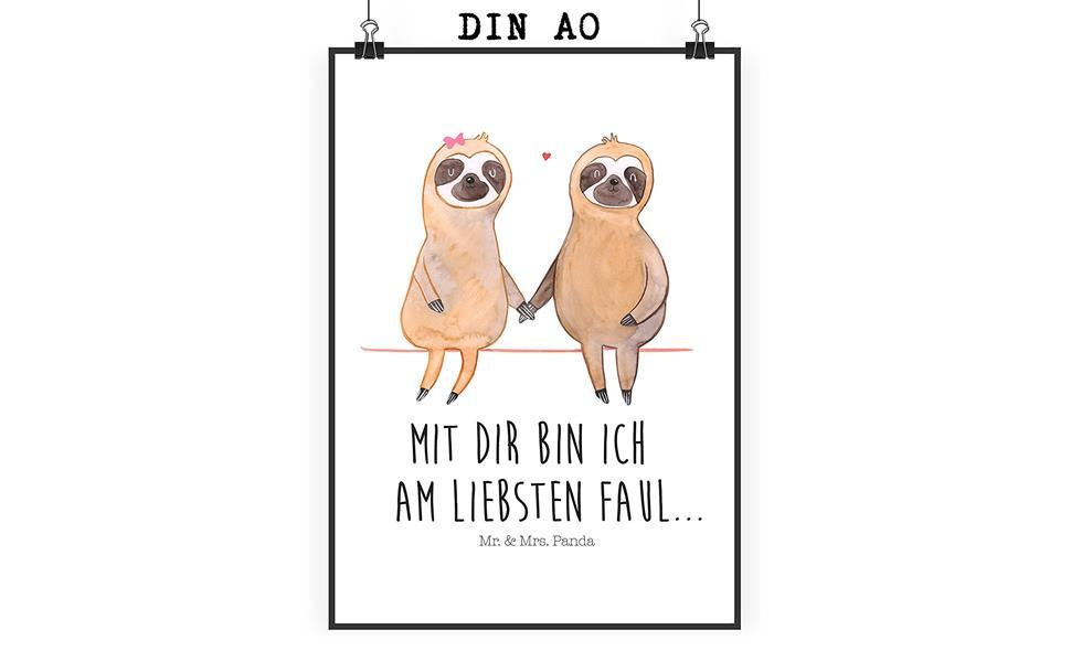 Amazon.de: Mr. & Mrs. Panda Poster DIN A0 Faultier Pärchen - 100 ...