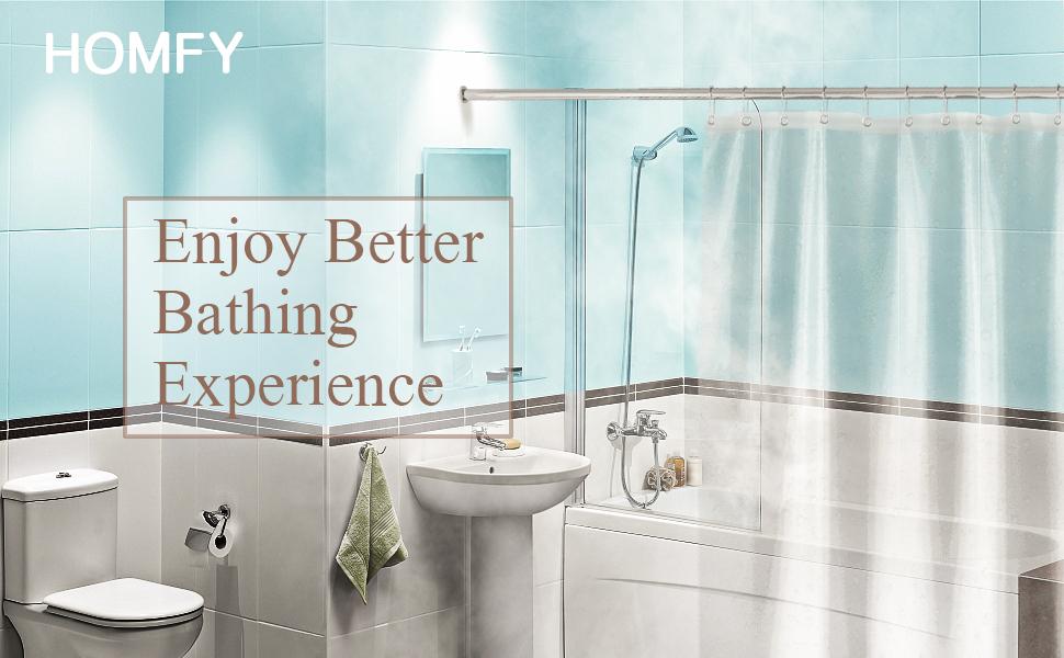 Badewanne Vorhang 180x180cm PEVA Wasserdicht mit 12 Ringe Antibakteriell HOMFY Duschvorhang Anti Schimmel