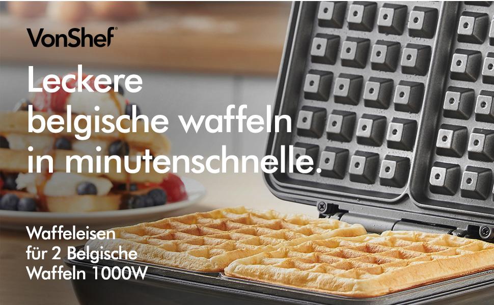 Kompaktes aus Edelstahl VonShef Waffeleisen für 2 Belgische