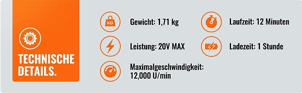 350cc198aca8db VonHaus Akku Laubbläser 20V Max - Maximalgeschwindigkeit 12