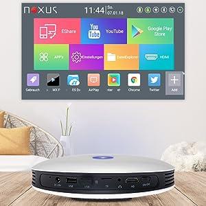 akku 4k beamer android projector klein portabel handlich betriebssystem