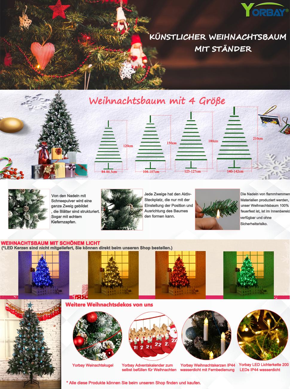 yorbay weihnachtsbaum tannenbaum mit st nder 120cm 240cm. Black Bedroom Furniture Sets. Home Design Ideas