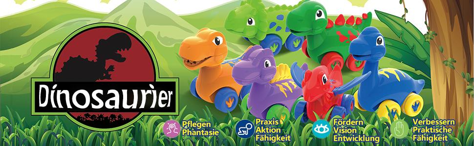 Dinosaurier Auto Zurückziehen Fahrzeug Mini-Tierauto Jungen Spielzeug Geschenks