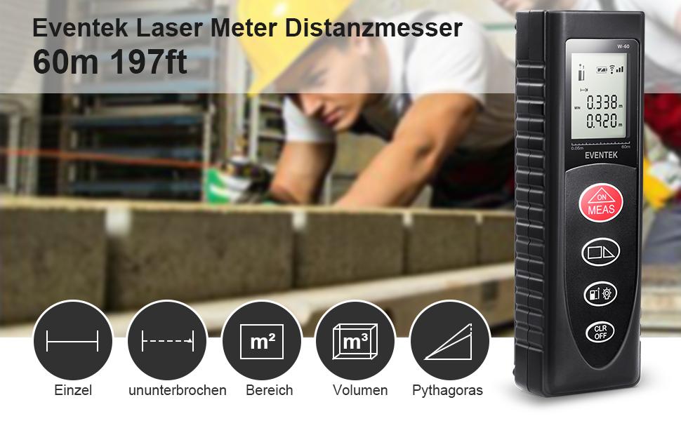 Eventek m laser entfernungsmesser automatische messung