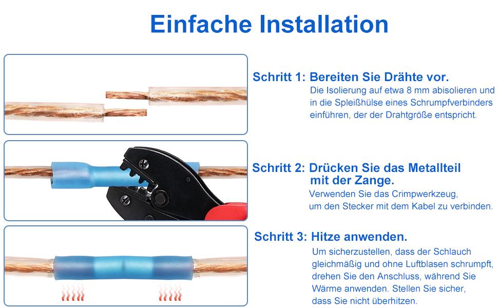 Eventronic 200pcs 10-22 AWG Insulated Kabelverbinder Stoßverbinder ...