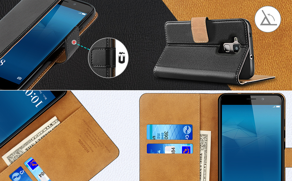 Huawei Honor 5C Case,High Quality Wallet Business Phone Case Cover (Black)