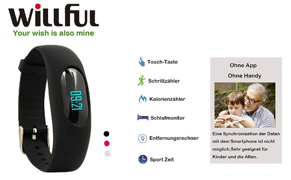 Willfu Fitness Armband Schrittzähler Uhr Ohne Amazonde Elektronik