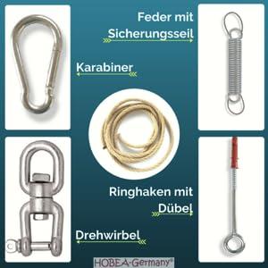 Aufhängeset HOBEA-Germany, Drehwirbel, Feder mit Sicherungsseil, Dübel, Ringhaken, Karabiner, Seil