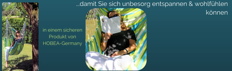 Hängesessel draußen im garten zum entspannen in einem sicheren Produkt von HOBEA-Germany
