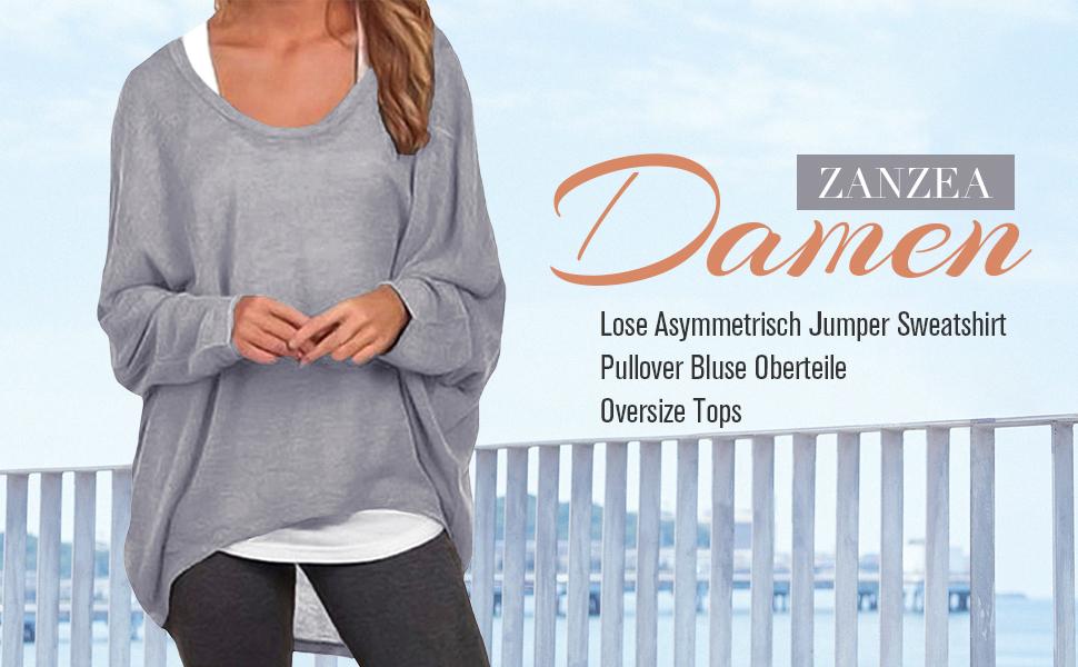 361361a4234b50 ZANZEA Damen Lose Asymmetrisch Jumper Sweatshirt Pullover Bluse ...