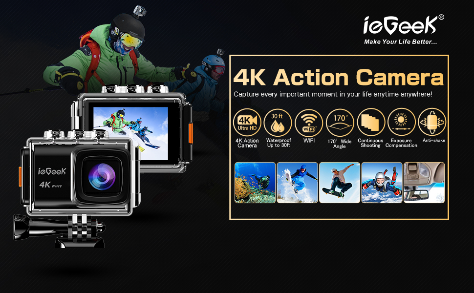 Action Cam 20mp 4k Wifi Sports Kamera Full Hd 170 ° Weitwinke Eis Anti Shake 2 Camcorder