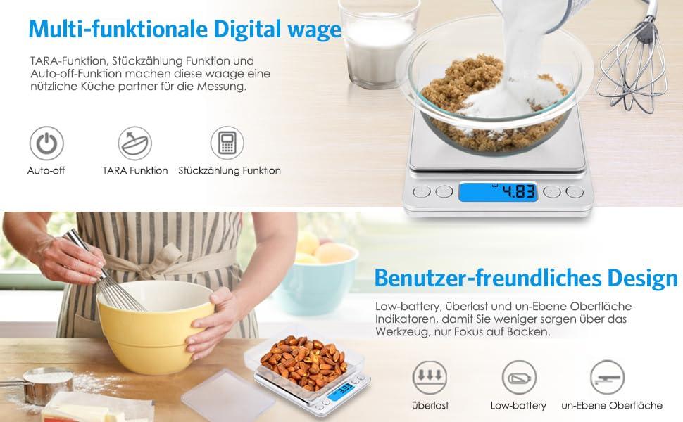 AMIR Digitale Küchenwaage, 3kg x 0,1g Digitalwaage: Amazon.de ...