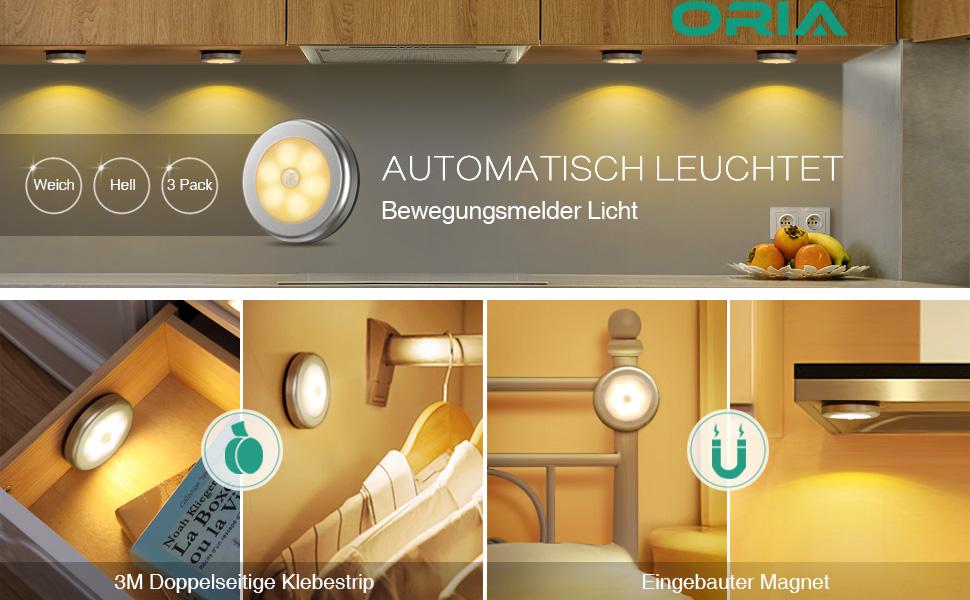 Oria Nachtlicht mit Bewegungsmelder, 6 LED Bewegungsmelder Licht ...