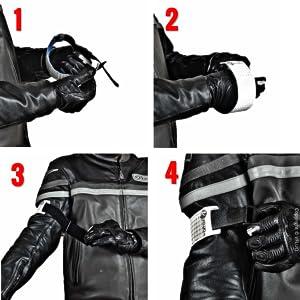 Vfluo Armtech Retro Reflektierende Verstellbare Und Elastische Armbind Für Motorrad Motorroller Fahrrad Fußgänger Schwartz Auto
