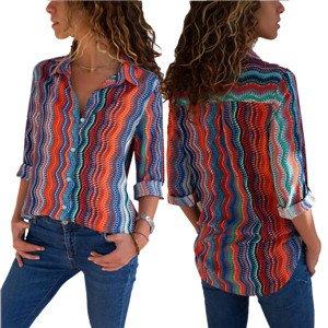 4467bc80ee6459 FIYOTE Hemden Button-Down Patchwork Langarm Hemdbluse Casual Und Schlank  Blusen und Tuniken 6 Farbe S/M/L/XL/XXL