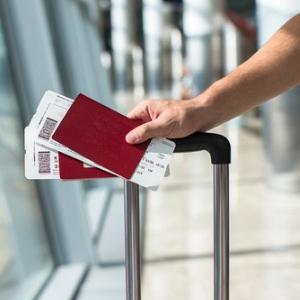 Kulturbeutel transparent, Urlaub Zubehör, Reise am Flughafen, Pass und Flugtickets