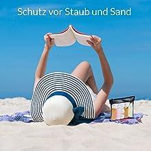 Kulturbeutel transparent, Kulturbeutel durchsichtig mit Flüssigkeiten am Strand, Urlaubszubehör