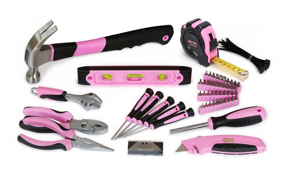 workpro 103 tlg lady werkzeug set mit tasche rosa werkzeugkoffer baumarkt. Black Bedroom Furniture Sets. Home Design Ideas